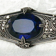SOLD Antique Edwardian Theodor Fahrner Sapphire Blue Glass & Sterling Silver Pin, Germany