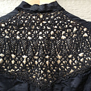 SALE Antique Victorian Beaded Black Shirt, Corset Bodice, Possible Mourning Blouse