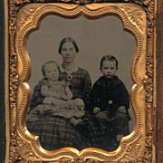 Civil War Era Victorian Photo, Pretty Lady and Her Children, Ambrotype