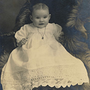 SOLD Antique Victorian Photo, Baby in Lace Christening Dress with Heart-Shaped Locket, Fur Bla