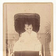 Antique Victorian Photo, Baby Sucking Thumb in a Carriage
