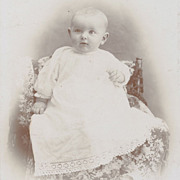 Antique Victorian Photo, Pretty Baby Girl, Lace Dress, White on White with Gilt Cabinet Card