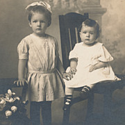 Two Gorgeous Little Girls, Artistic Victorian Antique Photograph, Excellent Condition