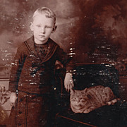 SOLD Antique Victorian Photo: Tabby Cat and Little Boy in Sailor Suit