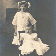 Vintage Photo, Cabinet Card, Two Pretty Little Girls, Identified, White Lacy Dresses
