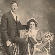 Beautiful Victorian Couple, Lady in Fashionable Dress with Flowers, Antique Photo
