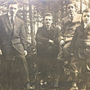 Four Handsome Young Men & Boys, HUGE Vintage Photo Cabinet Card
