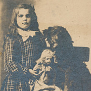 Antique Photograph, Pretty Little Girl with Porcelain Doll and Spaniel Dog