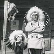 "Vintage Knott's Berry Farm Amusement Park Photo, ""Indians"" in Feather Head-dresses"