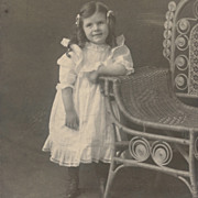 SOLD Antique Photo: Pretty Little Girl, White Dress, Flounces and Curls