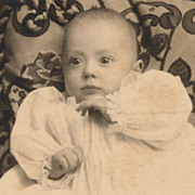 Vintage Cabinet Card Photo, Newborn Baby in White Gown