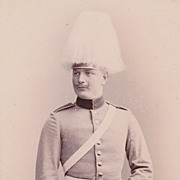 SOLD Antique Photo, Military, Handsome German Cavalry Officer, Tall White Fur Hat