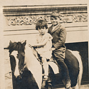 Children Riding a Pony, Victorian or Edwardian Original Photo,