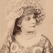 Glamorous Victorian Lady, Lovely Hat, Pearls and Fashionable Gown, Antique Photo