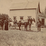 Antique Photo, Victorian Horse and Buggy, Ladies and Gentlemen at Farmhouse
