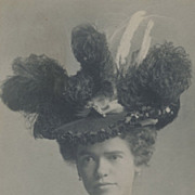 Millinery Delight! Victorian Hat with Feather Plumes, Antique Victorian Photo