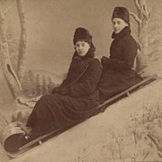 SOLD Victorian Ladies on a Sled, Winter Scene, Antique Photograph, 1882, Identified
