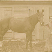 SOLD Antique Victorian Photo, Pretty Lady and her Horse, Equestrienne