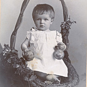 Antique Photo of Baby in Basket, Pretty Victorian CDV Photograph, Germany