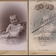 Antique Victorian French Photo, Paris, Baby in Lace off-the-shoulder Dress