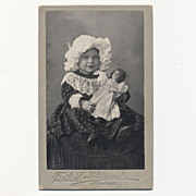 Outstanding Antique Victorian Photo, Girl in Bonnet holding large Porcelain Doll