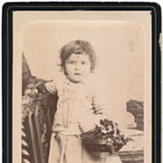 Antique French Victorian CDV Photo, Little Girl with Basket of Flowers, Lacy Dress and Gilt ..
