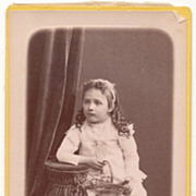 SOLD Antique Victorian Era Photo, Little Girl Holding Basket, France