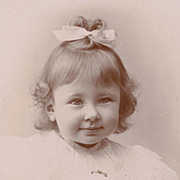 SOLD French Victorian Antique Photo, Pretty Little Girl in White Lace Dress