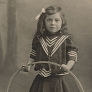 SOLD Antique Victorian Photo, Little Girl Playing With Toy Hoop