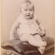 Antique French Photo, Victorian Era Paris, Baby Girl on Tasseled Cushions