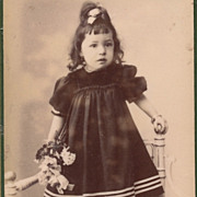 Antique Victorian French Photo, Pretty Girl, Striped Dress, Bouquet, Paris France
