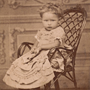SOLD Victorian Antique Photo, Pouty Pretty Little Girl, Fancy Dress, Germany