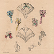 Antique French Fashion Plate, Paris, Victorian Era, 1848 Bonnets and Lace, French Millinery
