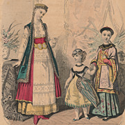 Antique French Fashion Plate, Paris, Victorian Era, Lady and Children in Costume
