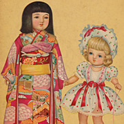Vintage Japanese Children's Book Page, Floral Kimono with Obi, Pretty Girls