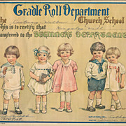 SOLD Nursery School Diploma, 1919 Print, Charming Children, 1936 Church Cradle Roll