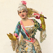 Lady in Ballgown, Feather Fan and Powdered Wig, Chromolithograph