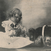 SOLD Vintage Photogravure Print of a Pretty Little Girl with Puppy, Copyright 1900