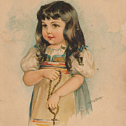 Maud Humphrey Victorian Chromolithograph Print, Italian Child 1889, Antique Original