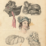 Antique Georgian Period Fashion Plate, 1822, Regency Hats, Lace, Millinery
