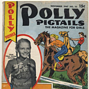 Vintage Polly Pigtails Magazine, 1947 Thanksgiving Issue, Pretty Little Girl Ephemera