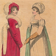 Antique Georgian Period Fashion Plate, Christmas 1807, Regency Empire Dresses and Hats
