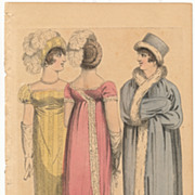 Antique Georgian Period Fashion Plate, 1808, Regency Empire Dresses and Hats