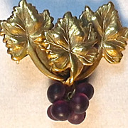 Vintage Brooch or Pin, Purple Glass Grape Beads Hanging from Metal Grape Leaves