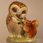 "Beatrix Potter Owl and Squirrel, Porcelain, Beswick England, ""Old Mr. Brown"""
