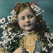 Vintage Postcard, Girl with Big Bouquet Of Daisies, Sparkle Details