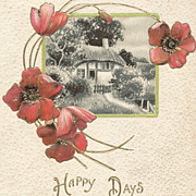 Vintage Embossed Floral Postcard, Poppy Flowers, Gilt, Cottage