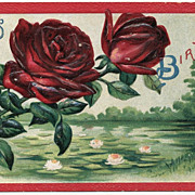 Vintage Embossed Birthday Postcard, Red Roses and Water Lilies