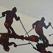 Retro, Original, Signed Painting 1970s Artist, Skiers by Taogaea, Eddie Powell, FREE DOMESTIC 