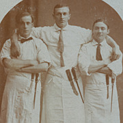 Butchers with Knives, Vintage Real Photo Postcard, Occupational RPPC, Handsome Young Men